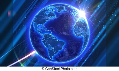 Animated planet background. Beautiful Blue Earth with shiny Sun and satellite on abstract background. Cloud and land textures based on NASA public domain images.