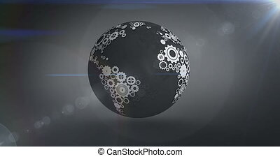 Spinning earth made of cogs and wheels on dark background