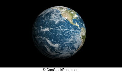 Spinning earth on black background 4k