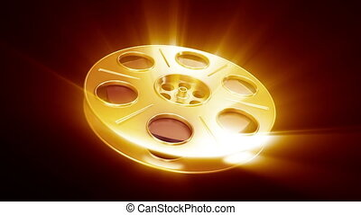 Spinning Film Reel - Great for cinema concept. Include alpha...