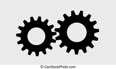 Spinning gears 2d animation, video with a transparent background