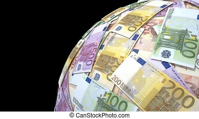Spinning globe made of euro notes.