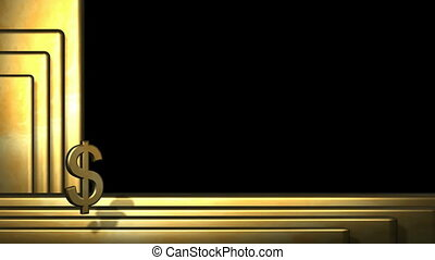 Spinning Gold Dollar Symbol in Front of Gold Bars