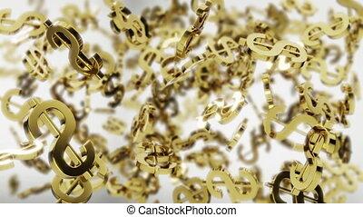 Spinning golden dollar symbols - looped 3D animation