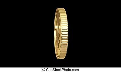 spinning golden yen coin