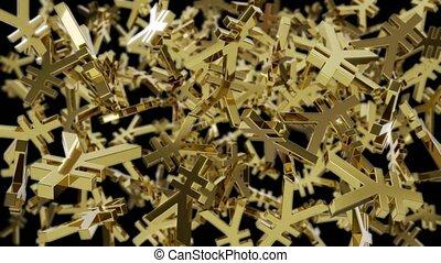 Spinning golden Yen symbols - looped 3D animation with luma matte