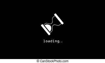Spinning hourglass waiting loading sign on black background. Animation motion graphic