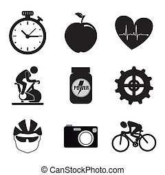 spinning icons over white background vector illustration