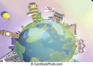 Spinning Landmarks of the World.