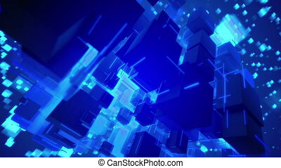 """Spinning Macrostructure of Blue Cubes"""