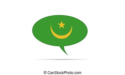 Mauritania Flag Speech Bubble - Spinning Mauritania Flag...