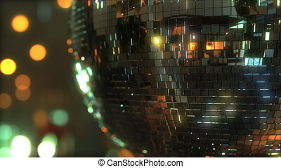 Spinning mirror disco ball - Rotating disco ball against...