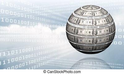 Spinning money globe against binary codes