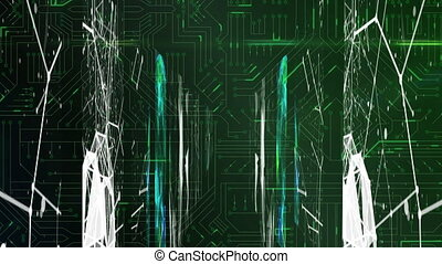 Animation of digital interface data processing with screens and spinning networks of connections. Global technology online network concept digitally generated image.
