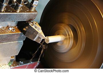 lathe machine - spinning old lathe machine