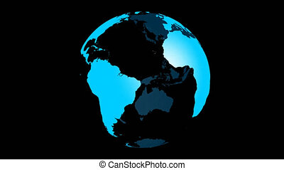 Spinning Planet Earth Globe in blue with transparent glass effect. Rotating 3D object. Footage with alpha channel background