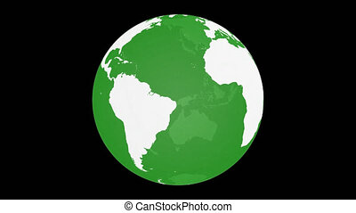 Spinning Planet Earth Globe. White land with green transparent glass effect. Rotating 3D object. Loop footage with alpha channel background