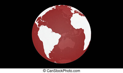 Spinning Planet Earth Globe. White land with red transparent glass effect. Rotating 3D object. Loop footage with alpha channel background