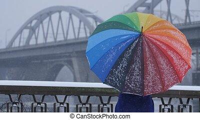 Spinning rainbow umbrella during snow