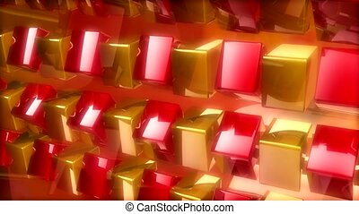 Spinning red and gold cubes