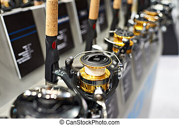 Spinning reels in store closeup