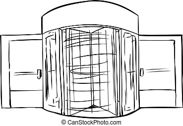 Spinning Revolving Door Outline  sc 1 st  Can Stock Photo & Rotating evolving door. Hand drawn illustration of spinning ... pezcame.com