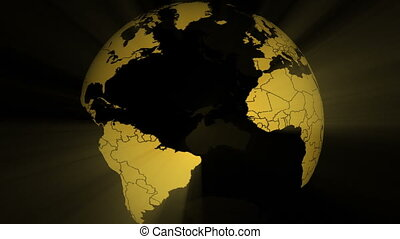 Seamless loop with spinning, shining gold land form only globe with national borders