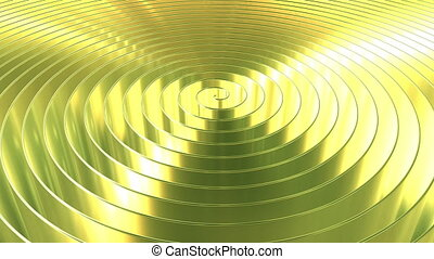 Spinning shiny gold coil, 3D