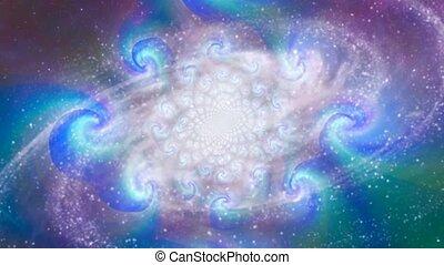 Spinning spiral galaxy. Vivid colors