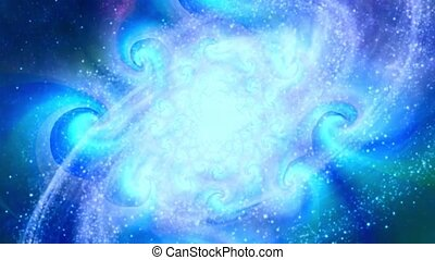 Spinning spiral galaxy