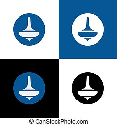 Spinning top logo template, whirligig icon design - Vector.
