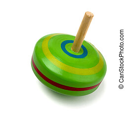 Old wooden spinning top toy isolated on white