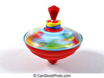 Spinning top toy colored in rotation