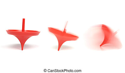 Spinning top with motion blur showing rotation sequence