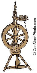 Hand drawing of a spinning wheel