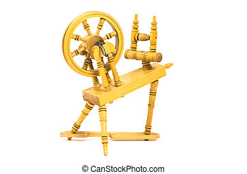 Spinning wheel - Old spinning wheel isolated on white ...