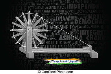 Spinning wheel on India background for Gandhi Jayanti -...