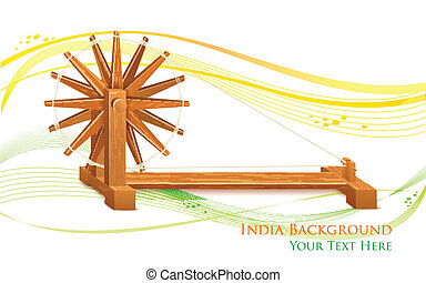 Spinning Wheel on India background - illustration of...