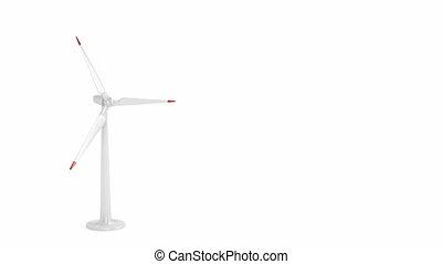 Spinning wind turbine on white background