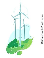 Spinning wind turbines in the field with leaves blowig out of the