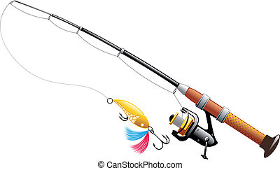 Spinning with spoon and expanded fishing line isolated on...