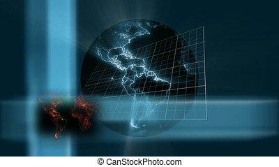 Spinning world on grid background