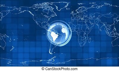 Spinning World on Map Background
