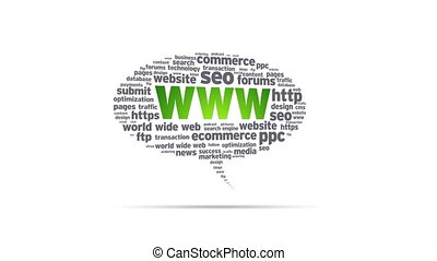 World Wide Web - Spinning World Wide Web Speech Bubble