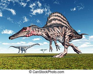 Spinosaurus and Puertasaurus - Computer generated 3D...