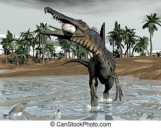 Spinosaurus dinosaur eating fish - 3D render - One...