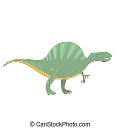 Spinosaurus dinosaur in cartoon style. Vector illustration isolated on white background.