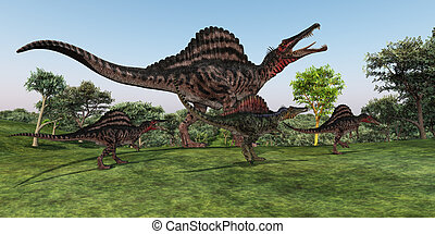 Spinosaurus Mother - A Spinosaurus mother walks with her...