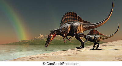 Spinosaurus Rainbow - A mother Spinosaurus dinosaur brings...