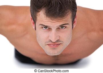 spinta, adattare, shirtless, ups, uomo